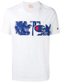футболка со вставкой с пальмами и логотипом Champion