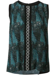 tribal print pleated top Yigal Azrouel