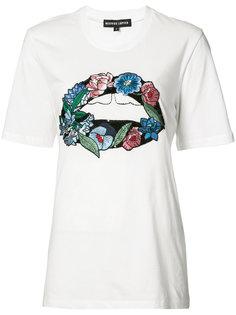 футболка с цветочной вышивкой Markus Lupfer