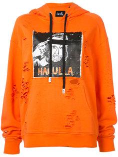 distressed logo print hoodie Haculla