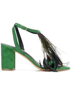 feather detail open toe sandals Jean-Michel Cazabat
