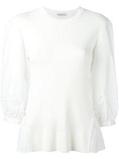 вышитая блузка из двух материалов Moncler