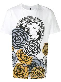 футболка с цветочным принтом и львом Versus