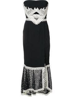 платье с кружевным подолом и глубоким разрезом Jonathan Simkhai