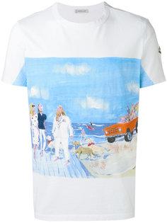 футболка с принтом и вышивкой Moncler