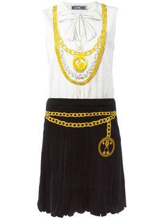 приталенное платье с цепочным принтом Moschino