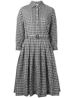 клетчатое расклешенное платье-рубашка Aspesi
