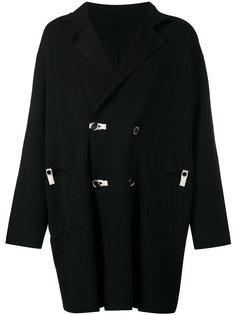 двубортное пальто с контрастной отделкой Yohji Yamamoto