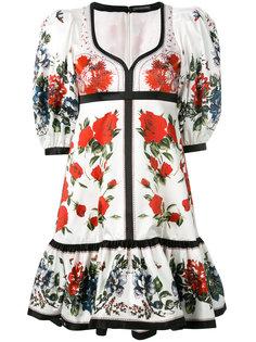 расклешенное платье с цветочным принтом Alexander McQueen