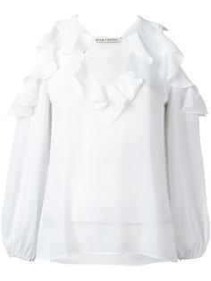 блузка с вырезами на плечах и рюшами Alice+Olivia