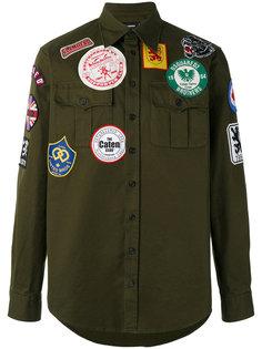 рубашка в стиле милитари с заплатками Dsquared2