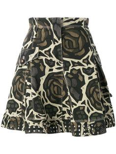 юбка с камуфляжным принтом Fay