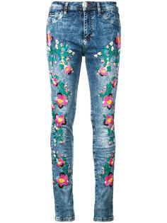 джинсы скинни с цветочной вышивкой  Philipp Plein