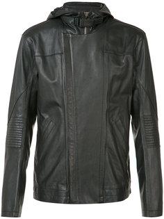 hooded leather jacket  Helmut Lang