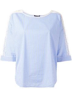 блузка в полоску с кружевной отделкой Twin-Set