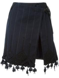 юбка с запахом и кружевной отделкой Sacai