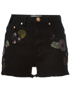 Birds of Paradise embroidered denim shorts One Teaspoon