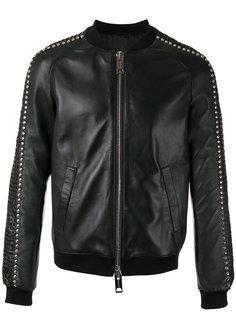 куртка-бомбер  с заклепками Les Hommes