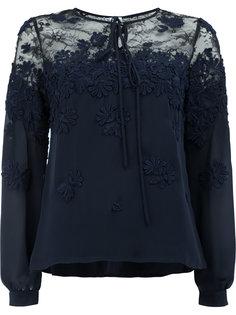 блузка с цветочной вышивкой и кружевной отделкой  Oscar de la Renta