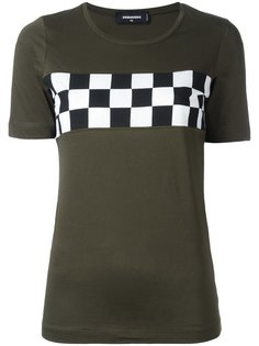 футболка с клетчатой вставкой на груди Dsquared2