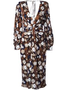присборенное платье с цветочным принтом Michael Kors