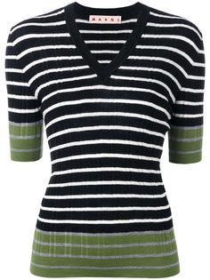 полосатый свитер с контрастной отделкой Marni