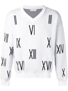свитер с числами и V-образным вырезом Gosha Rubchinskiy ГОША РУБЧИНСКИЙ