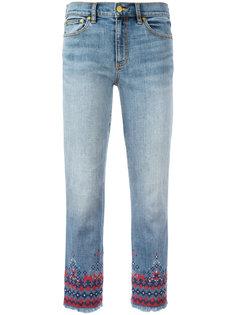 укороченные джинсы с вышивкой Tory Burch