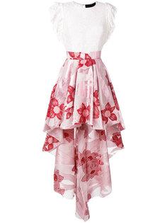 floral high-low hem skirt Christian Pellizzari