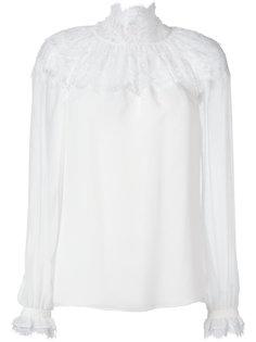 блузка с кружевной панелью Oscar de la Renta