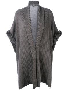 ribbed trim cardi-coat  N.Peal