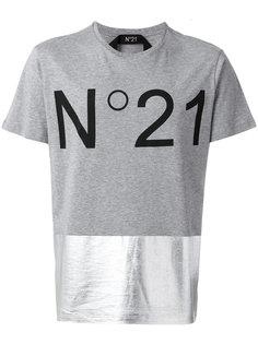 футболка с логотипом и вставкой металлик  Nº21