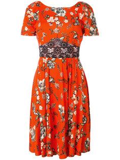 платье с цветочным принтом и кружевной вставкой Twin-Set