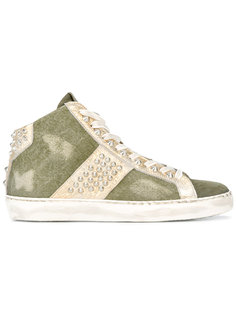 studded hi-top sneakers Leather Crown