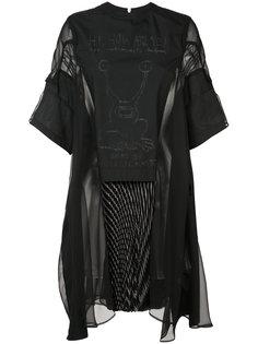 платье с прозрачными панелями Sacai