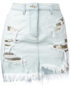 рваная джинсовая юбка с контрастными вставками Versus