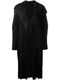 плиссированное пальто с драпировкой спереди Pleats Please By Issey Miyake