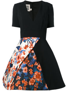 floral panel flared skirt dress Fausto Puglisi