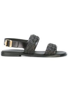 сандалии с ремешками и плетеной отделкой Versace