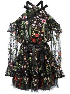 прозрачное платье с цветочной вышивкой Alexis