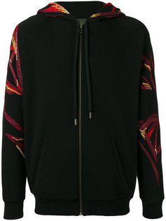 embroidered sleeve zip hoodie  Amen Amen.
