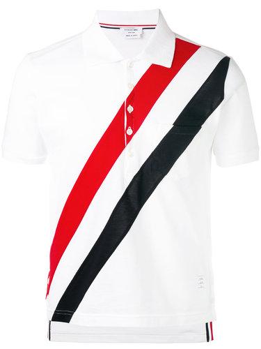 рубашка-поло с диагональными полосками Thom Browne