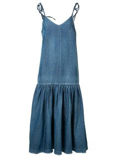 dropped waist denim dress  Co