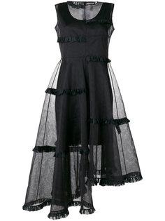 асимметричное платье с прозрачным слоем Paskal