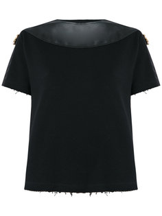 leather trim top Andrea Bogosian