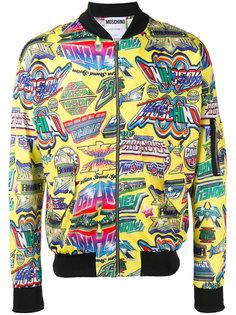куртка-бомбер с принтом Moschino