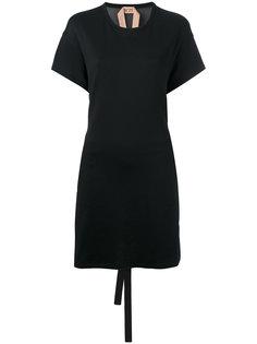 платье с полупрозрачными вставками и оборками Nº21