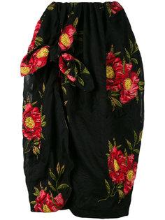 жаккардовая драпированная юбка с цветочным принтом Simone Rocha