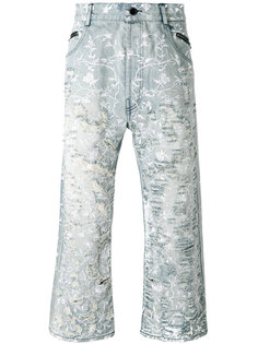floral distressed jeans Unconditional