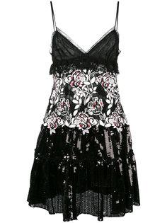 платье с пайетками и цветочным принтом Giambattista Valli